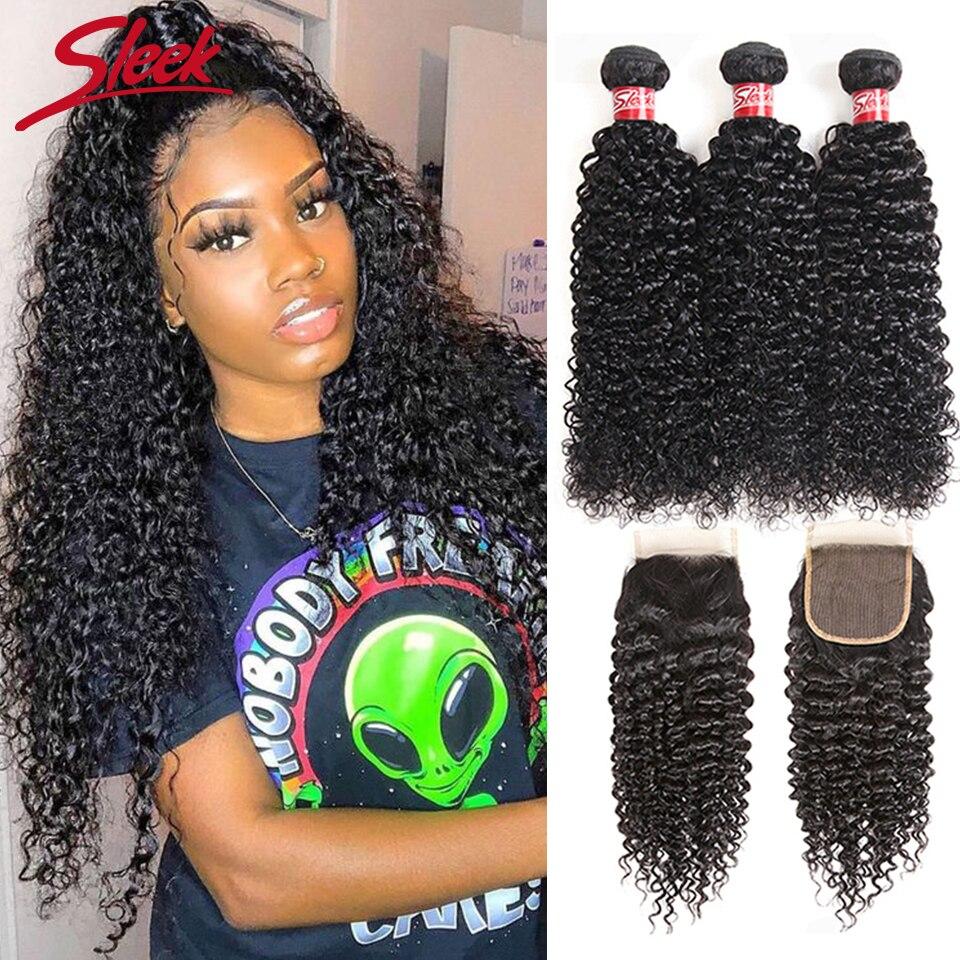 Sleek Peruvian Kinky Curly Weave Human Hair Bundles With Closure Free Part Non-Remy Human Hair Extensions 3 Bundles with Closure